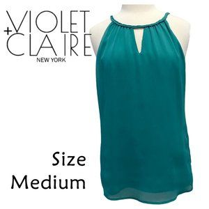 Violet + Claire Sleeveless Teal Blouse Size Medium